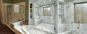 Master shower - before & after
